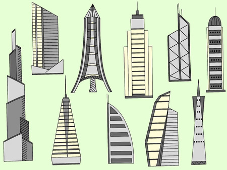 tower tall: Vector line art Doodle set of cartoon characters and objects tall buildings. Tower blocks Illustration