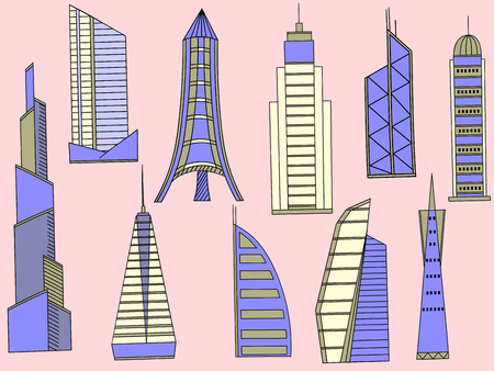 tall buildings: Vector line art Doodle set of cartoon characters and objects tall buildings. Tower blocks Illustration