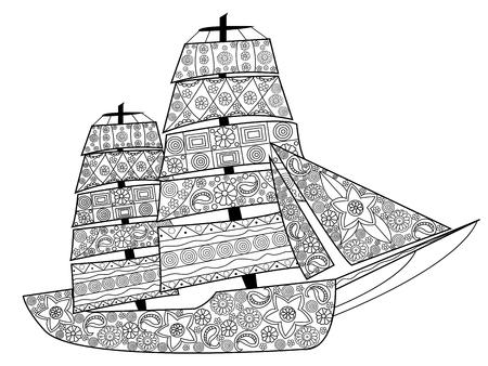 pez vela: Barco de vela para colorear para los adultos ilustración vectorial. Antiestrés colorear para adultos. líneas blancas y negras. modelo del cordón