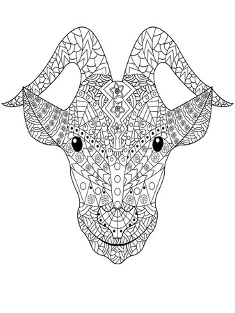 Goat head coloring book for adults vector illustration. Anti-stress coloring for adult.  Black and white pattern Illustration