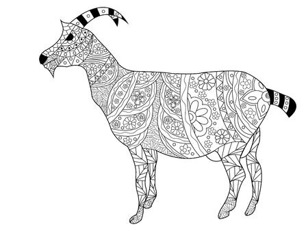 capricornio: Cabra libro de colorante para los adultos ilustración vectorial. Antiestrés colorear para adultos. Modelo blanco y negro