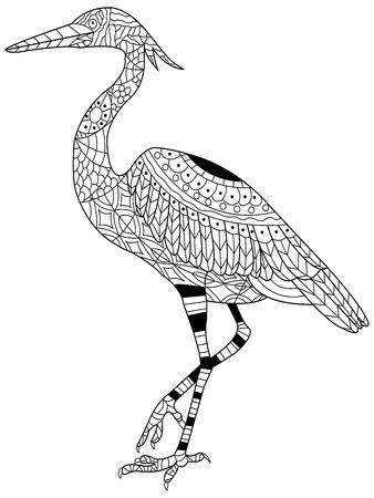 Heron kleurboek voor volwassenen vector illustratie. Anti-stress-kleuring voor volwassen. Zentanglestijl. Zwart en wit. Kantpatroon vogel