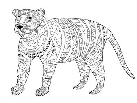 Il libro da colorare della tigre per gli adulti vector l'illustrazione. Colorazione antistress per adulti. Archivio Fotografico - 61933816
