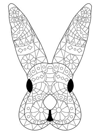 Kaninchen Färbung Umreißt In Boho-Stil. Ethnische Hase. Mit Dem ...
