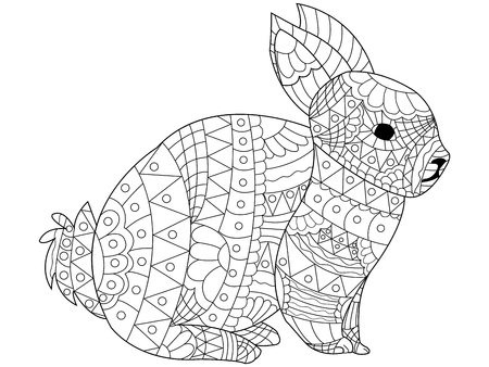 Rabbit Coloring pet adult vector illustration. Anti-stress coloring for adults bunny. 矢量图像