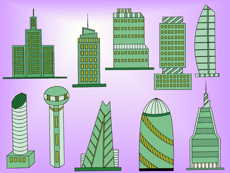 edifice: Famous capitals and cities characteristic downtown business center edifice buildings silhouettes day skyline abstract isolated vector illustration