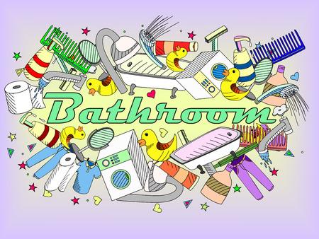 illustration with hand drawn background. Background with soap, bathroom cosmetics, bathroom duck, towel, mirror, brush. Cartoon cute bathroom concept
