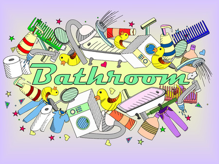 illustration with hand drawn background. Background with soap, bathroom cosmetics, bathroom duck, towel, mirror, brush. Cartoon cute bathroom concept