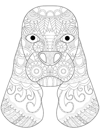 cocker: Dog head coloring book for adults illustration. Anti-stress coloring for adult. style Cocker Spaniel. Black and white lines. Lace pattern