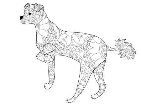 Chinese crested dog coloring book for adults  illustration. Anti-stress coloring for adult. style. Black and white lines. Lace pattern