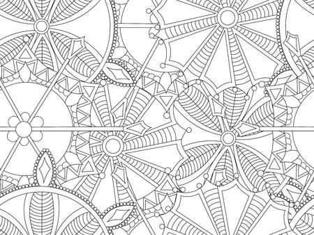 flocons de neige antistress sans soudure. Modèle pour la couverture, poster, t-shirt ou d'un tatouage. Coloriage d'hiver pour l'art-thérapie adulte. illustration.