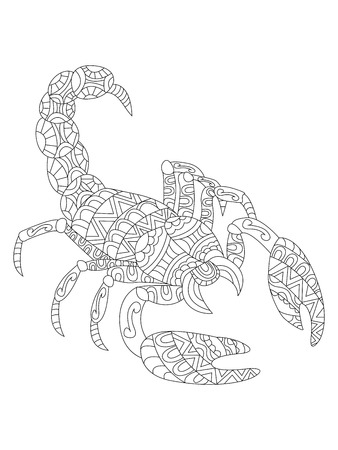 Illustration Of The Scorpion And Ethcnic Style Zodiac Symbol