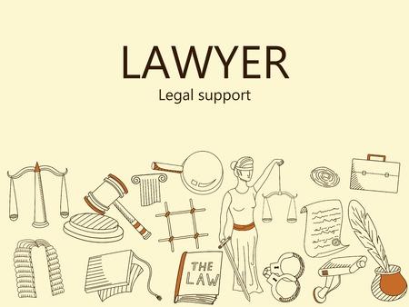 legislation: Lawyer. Legal support banner vector illustration. Icons art set Doodle line design of web banner template with outline law firm, business, court evidence, prison, law, legislation, crime, document