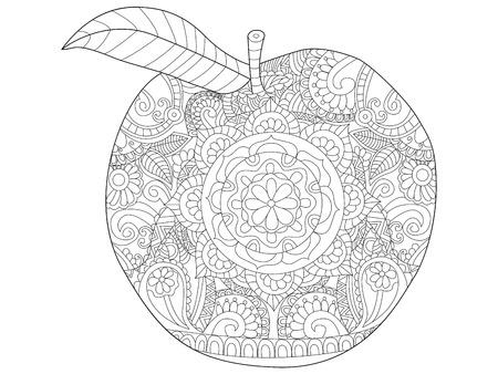 Apple fruit kleuren boek vectorillustratie. Anti-stresskleuring voor volwassenen. Zwarte en witte lijnen. Kantpatroon