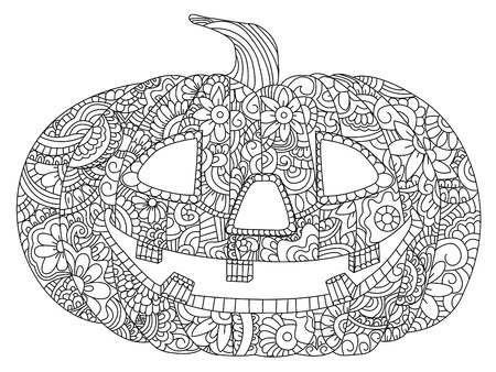Pumpkin for Halloween coloring book vector illustration. Anti-stress coloring for adult. Black and white lines. Lace pattern