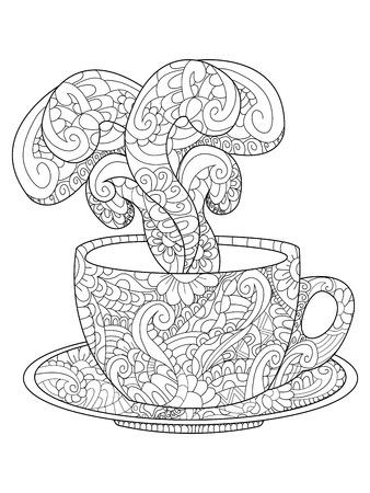 De Café O De Té. Páginas Para Colorear. Ilustración Estilizada De ...