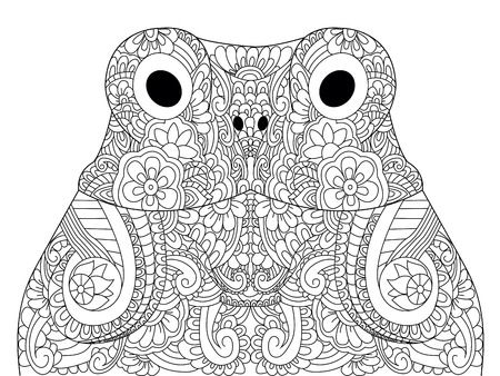 Head froggy coloring book vector illustration. Anti-stress coloring for adult toad.  Black and white lines hoptoad. Lace pattern anuran