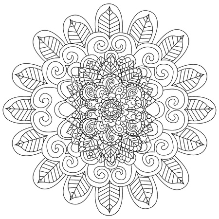 Mandala Coloring Book For Adults Vector Illustration Anti Stress