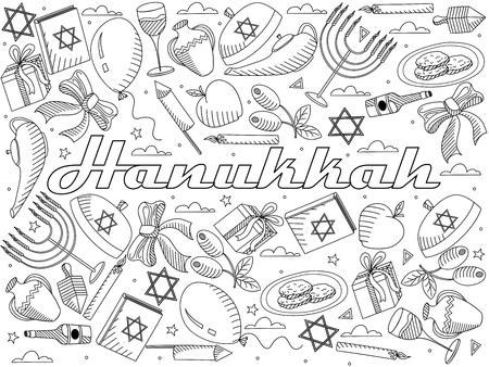gelt: Hanukkah coloring book line art design vector illustration. Separate objects. Hand drawn doodle design elements.