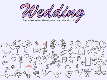 Wedding . Icons art set Doodle line design of web template with bridal bouquet, stroller, love, glasses, rings Ilustracja