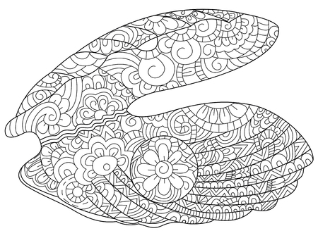 Oyster with pearl coloring book for adults illustration. Anti-stress coloring for adult. style. Black and white lines ostreidae. Lace pattern