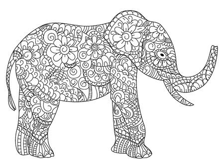 Elefante Dibujado A Mano Aislado En Fondo Blanco. Ilustración Del ...