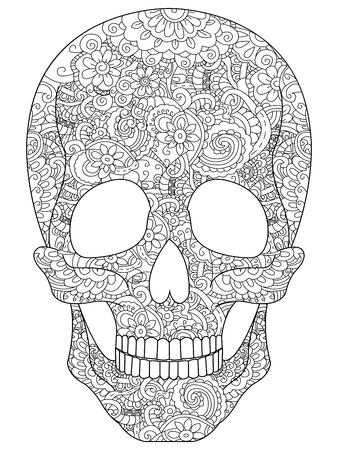 Schedel kleurboek voor volwassenen vector illustratie. Anti-stress kleur voor volwassenen. Zentangle stijl. Zwart-witte lijnen. Kantpatroon