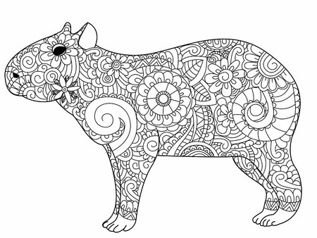 biggest animal: Capybara book for adults illustration. Anti-stress coloring for adult herbivorous mammal. style. Black and white lines rodent. Lace pattern Illustration