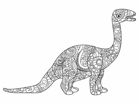 herbivorous: Apatosaurus book for adults illustration. Anti-stress coloring for adult herbivorous dragon. style. Black and white lines dinosaur. Lace pattern