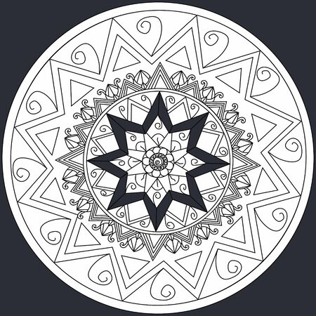 Mandala flower on black background coloring book for adults illustration. Anti-stress coloring for adult. style. Black and white lines. Lace pattern