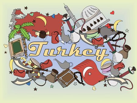 Turkey line art design illustration. Separate objects. drawn doodle design elements. Stock Photo