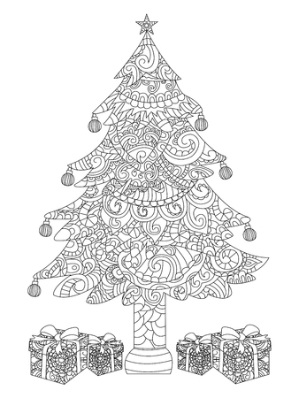 Libro De Colorante O Página. Conjunto De Regalos De Navidad. Caja ...