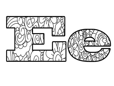 アンチ本アルファベットを着色、文字 E ベクトル イラスト