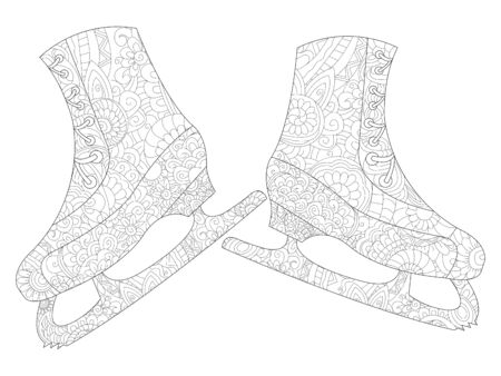 A pair of skates coloring vector for adults
