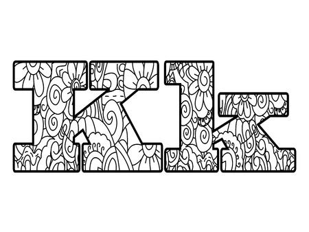 Anti coloring book alphabet, the letter K vector illustration Çizim