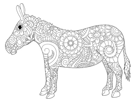 Donkey coloring vector for adults