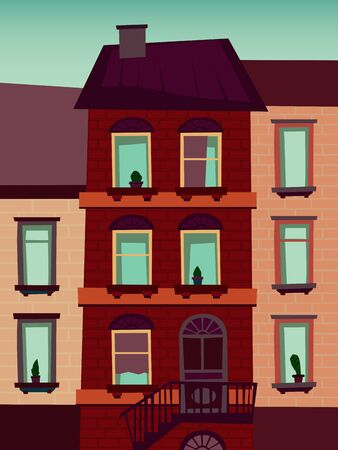 catroon: Catroon house building vector illustration