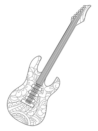 Musical instrument electric guitar Coloring book vector for adults