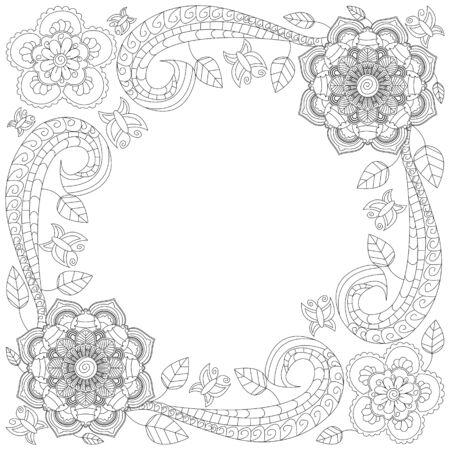 Colorear Ovalada Ilustración De Libros De Vectores Marco De La Flor ...