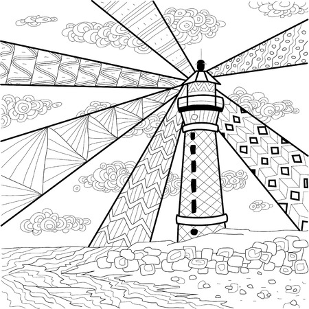 Seascape coloring book for adult, anti stress coloring vector Çizim