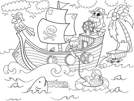 children coloring on the theme of pirates vector