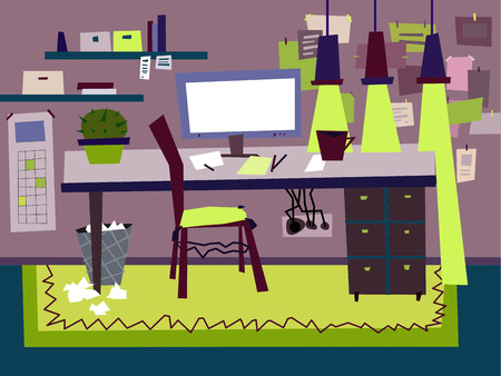 Cartoon Flat interior work room vector illustration Illustration