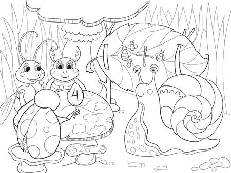 Los Insectos Aprenden A Colorear Matemáticas Para Niños Ilustración ...