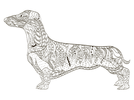Dachshund coloring book for adults vector illustration. Anti-stress coloring for adult dog. Zentangle style nature pet. Black and white lines symbol guard. Lace pattern friend. Illustration