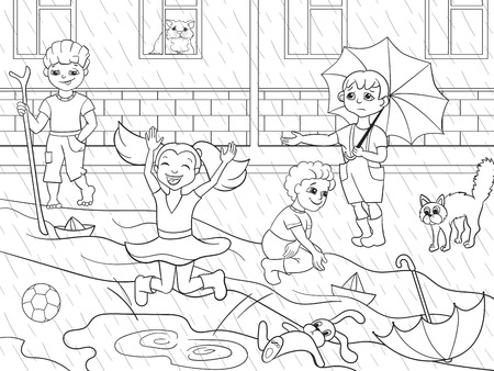 Kids coloring vector children playing in rainy weather Illustration
