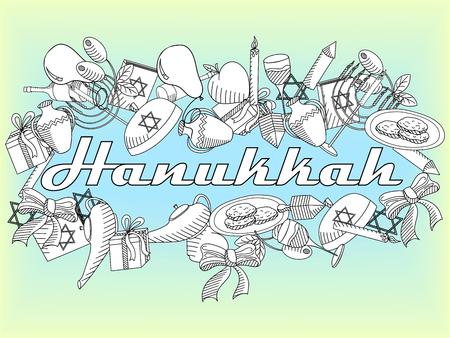 gelt: Hanukkah line art design vector illustration