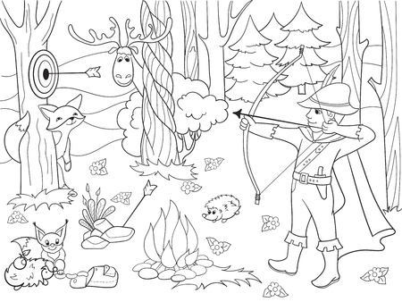 Children coloring vector arrow in the forest with animals