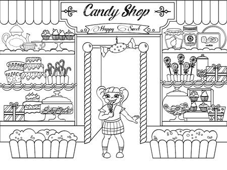 Dziewczynka kolorowanki dla dzieci w sklepie z cukierkami.