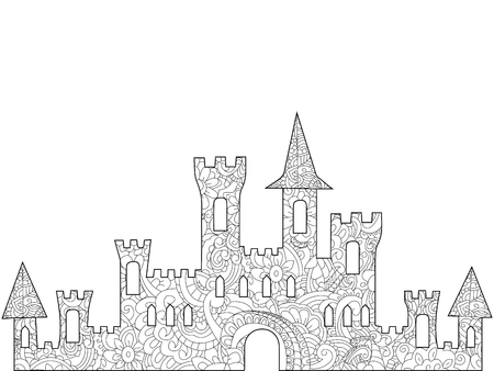 Old castle coloring book for adults