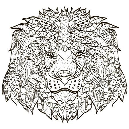 Zentangle stilizzato testa di cartone animato di un leone Archivio Fotografico - 75330324